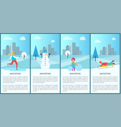 Wintertime park set of posters vector