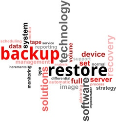 word cloud backup restore vector image