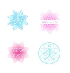 yoga logo set vector image vector image