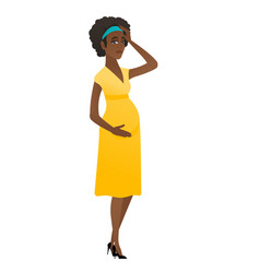 Young pregnant woman having headache vector