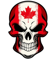 canada flag painted on skull vector image vector image