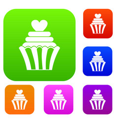 love cupcake set color collection vector image