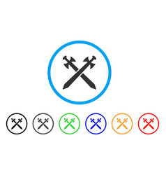 medieval swords rounded icon vector image vector image