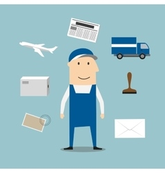 Postman profession and delivery icons vector image vector image