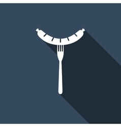 Sausage on fork icon with long shadow vector image