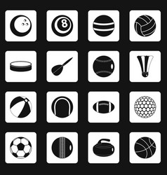 Sport balls icons set squares vector