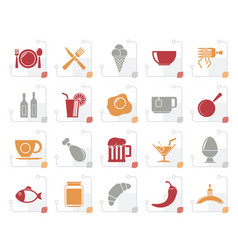 stylized food drink and restaurant icons vector image vector image