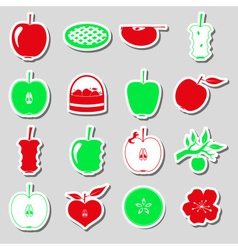 apple theme red and green simple stickers set vector image vector image