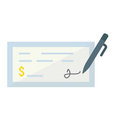 Bank check flat icon business and finance pen vector