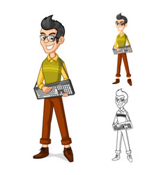 Geek Holding a Computer Keyboard vector image