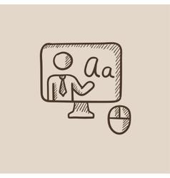 Online education sketch icon vector image