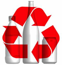 recycle bottles and cans vector image vector image