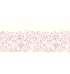 Red line art flowers horizontal seamless pattern vector image