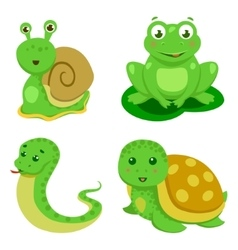 Reptiles And Amphibians Decorative Set in cartoon vector image
