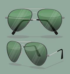 aviator sunglasses isolated on white dark brown vector image
