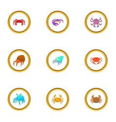 crustacean icons set cartoon style vector image