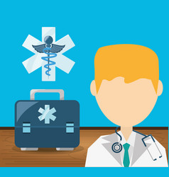 doctor with stethoscope and briefcase with vector image