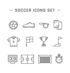 Soccer line icons vector image vector image