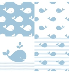 Whales and Stripes Seamless Prints and vector image