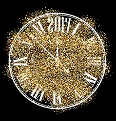 Black 2017 new year clock background vector