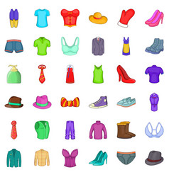 clothing accessories icons set cartoon style vector image