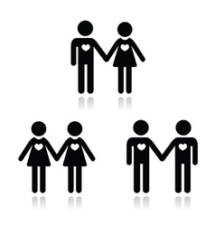 Hetero gay and lesbian love couples icons set vector image