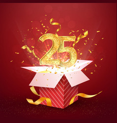 25 th years number anniversary and open gift box vector