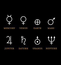 Astronomical symbols eight planets vector