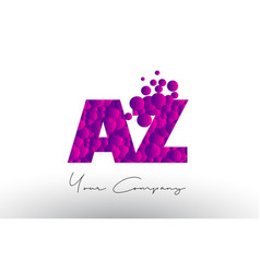 az a z dots letter logo with purple bubbles vector image