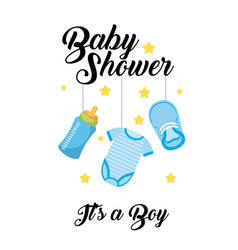 Baby shower its a boy clothes bottle shoe hang vector
