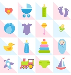 Background with baby boy elements vector