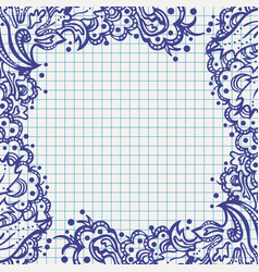 Ballpen floral frame on school notebook paper vector