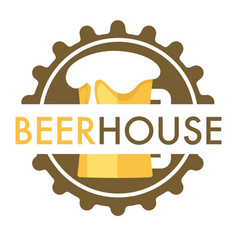 beer house isolated icon cap and mug with foam vector image