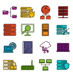 big data icons doodle set vector image