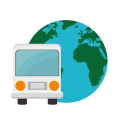 bus and earth planet vector image