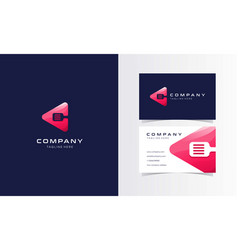 c play cooking modern logo with business card desi vector image