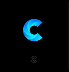 C vortex monogram letter logo blue swirl vector