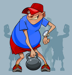 cartoon man is not an athlete trying to lift a vector image