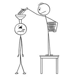Cartoon man putting books in to head or brain vector