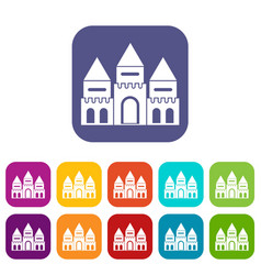 Children house castle icons set vector