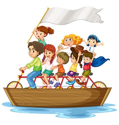 Children on boat vector