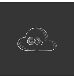 CO2 sign in cloud Drawn in chalk icon vector