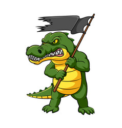 Colorful crocodile with angry expression vector