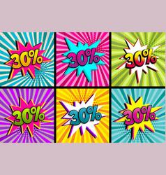 Comic text 30 percent sale set discount vector