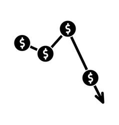 crysis currency depreciation black glyph icon vector image