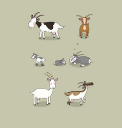 cute cartoon goat farm animals different breeds vector image