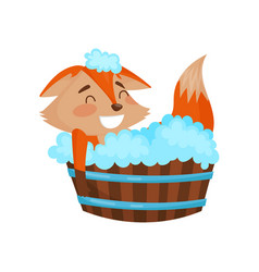 cute cartoon red fox character taking a bath vector image