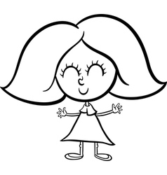 cute girl cartoon coloring page vector image