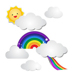 cute rainbow paper and cloud paper with the sun vector image