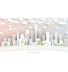 dallas texas city skyline in paper cut style with vector image